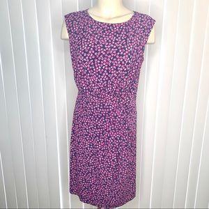 Ann Taylor Sleeveless Floral Tucked Waist Dress